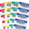 Asset labels with barcodes and various colors for color coding labels