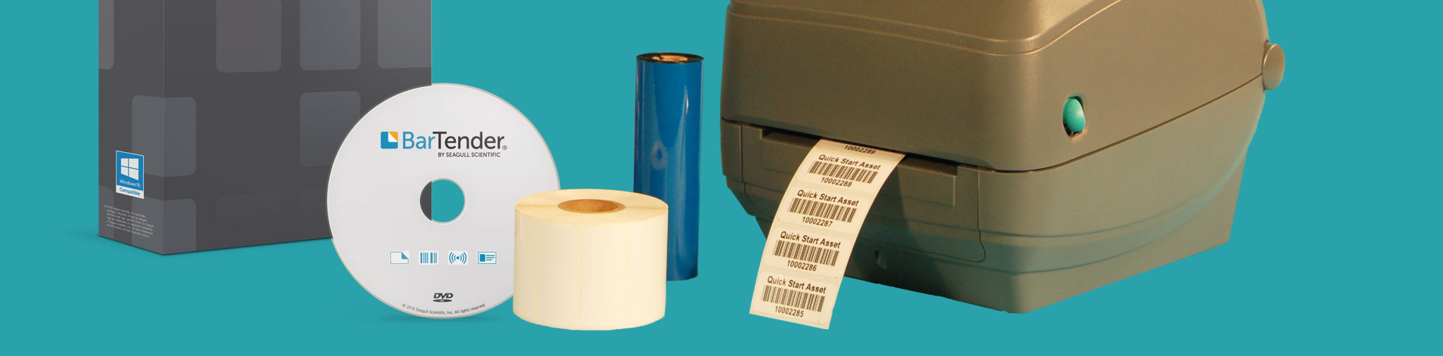 Barcode software and disk, grey label printer, ribbon material, and label material