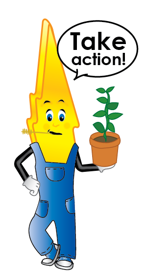"""A cartoon lightning bolt in overalls holding a potted plant. Saying """"Take Action!"""""""